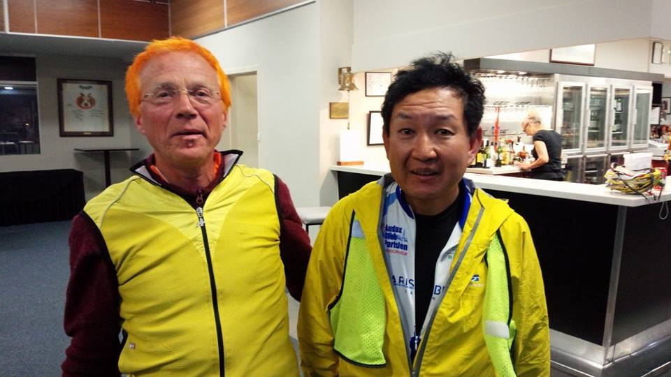 Michael James (L) rode the vollies ride then supported riders such as Hitoshi Yoshida (R).
