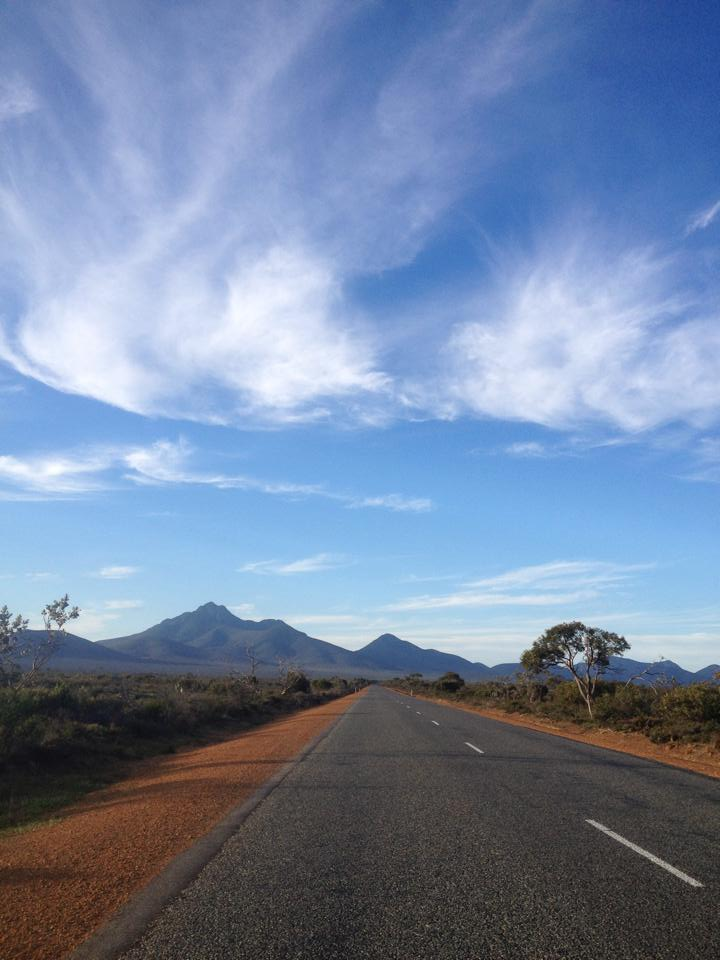 Riding towards the Stirling Ranges, WA.
